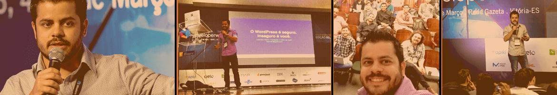 """Fotos de leandro Vieira, CEO da Apiki, ministrando a palestra """"O WordPress é seguro. Inseguro é você"""" com foco em segurança para WordPress"""