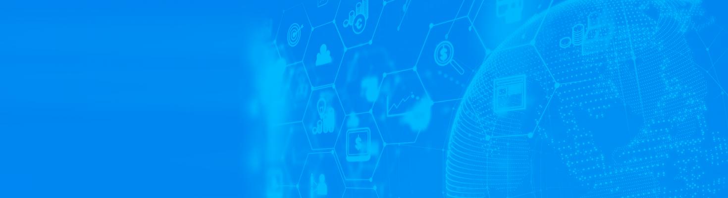 Banner azul com algumas interferências gráficas que representam o planeta, tecnologia, SEO, performance e business.