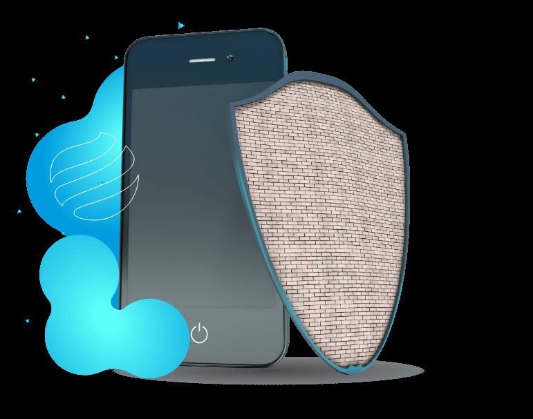 Smartphone à esquerda e uma armadura feita de tijolos à direita.